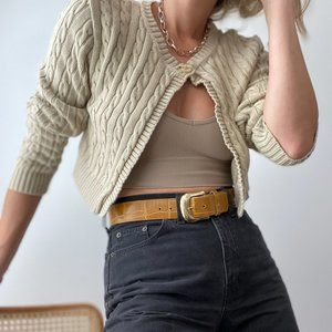 Vintage Cable Knit Cropped Cardigan Sweater